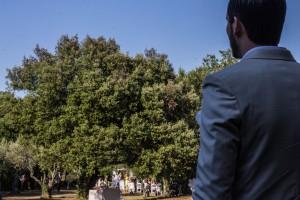 La marié arrive à la cérémonie laique. Photo réalisée par Castille ALMA photographe de mariage au Comptoir Saint Hilaire dans le Gard.