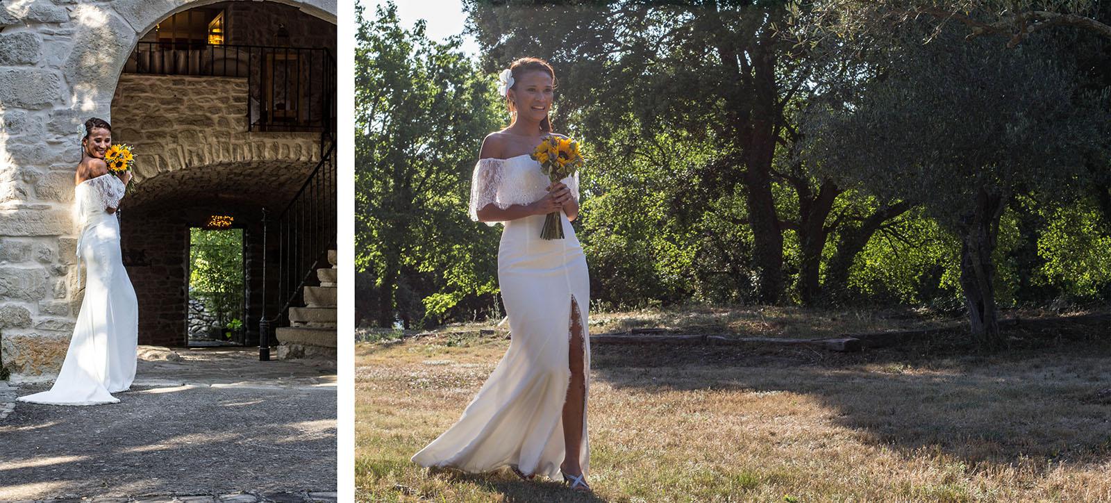 photographe mariage au comptoir saint hilaire Portrait de la mariée au comptoir saint hilaire. Photo réalisée par Castille ALMA photographe de mariage au Comptoir Saint Hilaire dans le Gard.