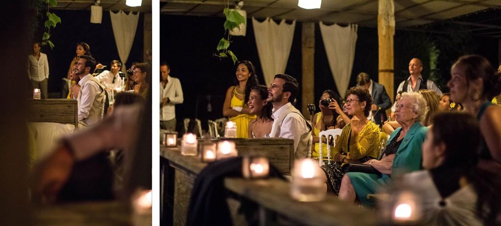 Pendant la soirée les invités ont réservés des surprises aux mariés. Photo réalisée par Castille ALMA photographe de mariage au Comptoir Saint Hilaire dans le Gard.